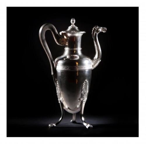 Antique Silver  - Coffee or the pot by the goldsmith Jean-Pierre BIBRON, Paris, 1819-1838