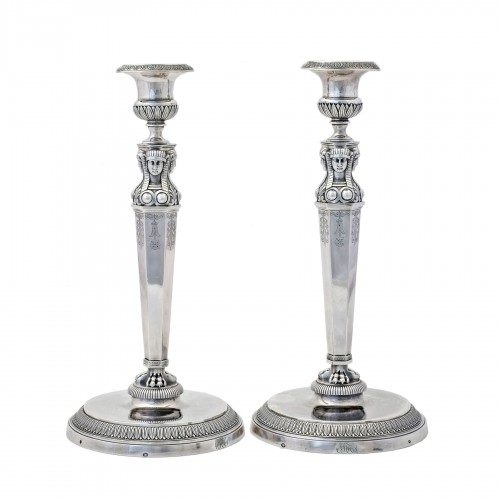 "Empire silver candlesticks, ""retour d'Égypte"", by J.G.A BOMPART (1803-1809)"