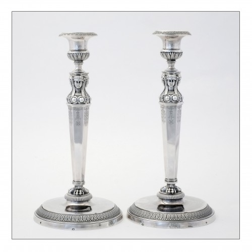 "Empire silver candlesticks, ""retour d'Égypte"", by J.G.A BOMPART (1803-1809) - Antique Silver Style Empire"