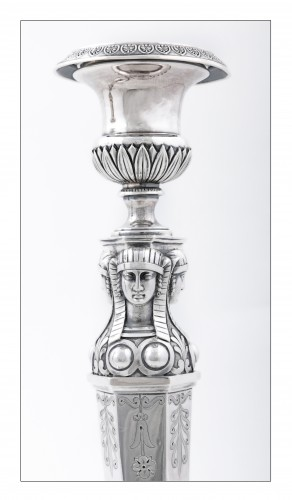 "Antique Silver  - Empire silver candlesticks, ""retour d'Égypte"", by J.G.A BOMPART (1803-1809)"