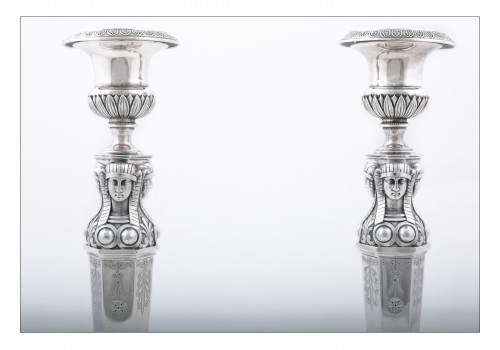 "Empire silver candlesticks, ""retour d'Égypte"", by J.G.A BOMPART (1803-1809) -"