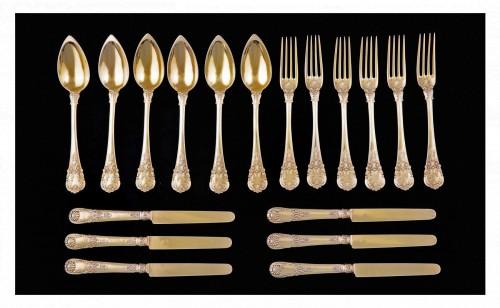 Set of 18 silver gilt dessert cutlery, Paris, 1838-1845