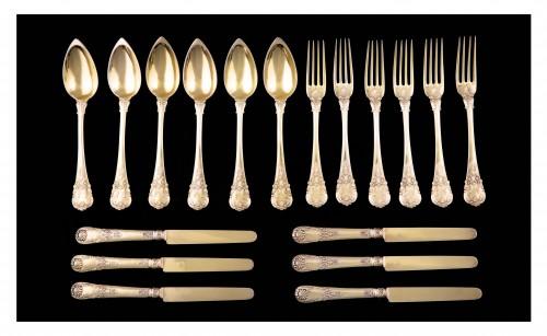 Set of 18 silver gilt dessert cutlery, Paris, 1838-1845 - Antique Silver Style Louis-Philippe