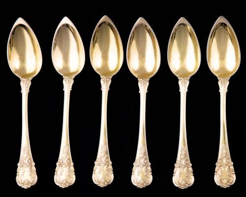 19th century - Set of 18 silver gilt dessert cutlery, Paris, 1838-1845