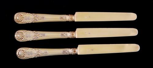 Set of 18 silver gilt dessert cutlery, Paris, 1838-1845 - Louis-Philippe