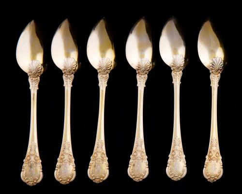 Louis-Philippe - Set of 18 silver gilt dessert cutlery, Paris, 1838-1845