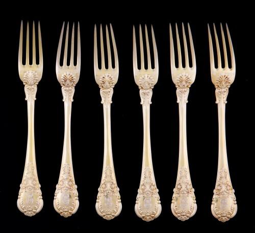 Antiquités - Set of 18 silver gilt dessert cutlery, Paris, 1838-1845