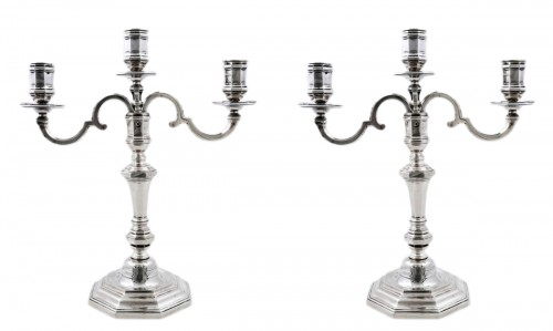 Pair of candelabras convertible into candlesticks by E. ROGER