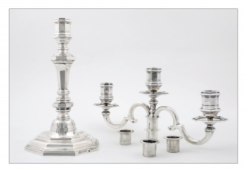 Pair of candelabras convertible into candlesticks by E. ROGER -