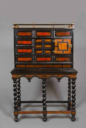 Louis XIV - Flemish cabinet in ebony and tortoise shell veneer, Antwerp 17th century