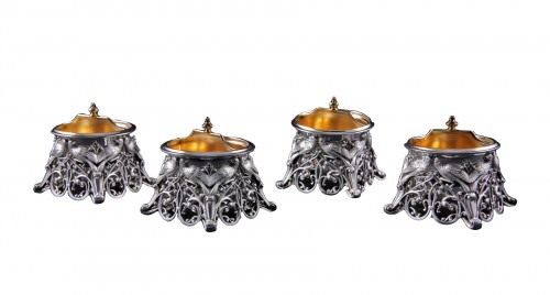 Four solid silver salt cellars by FRAY FILS and TOURON, Paris 1875-1891