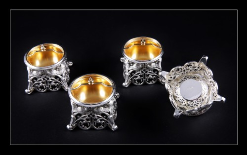 Antique Silver  - Four solid silver salt cellars by FRAY FILS and TOURON, Paris 1875-1891