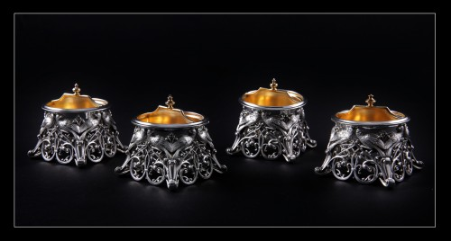 Four solid silver salt cellars by FRAY FILS and TOURON, Paris 1875-1891 -