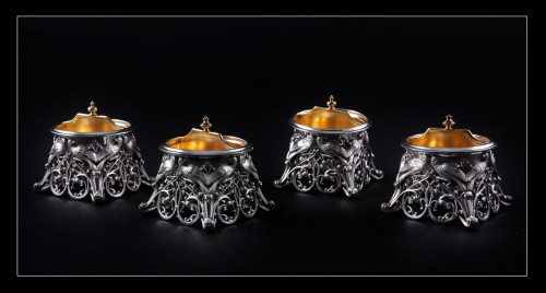 19th century - Four solid silver salt cellars by FRAY FILS and TOURON, Paris 1875-1891
