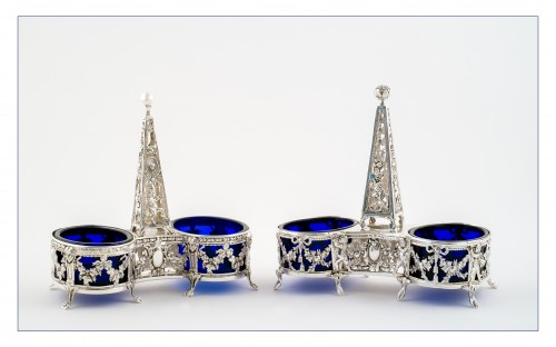 Set of two double open salt with obelisk by L. LAPAR and V. BOIVIN - Antique Silver Style