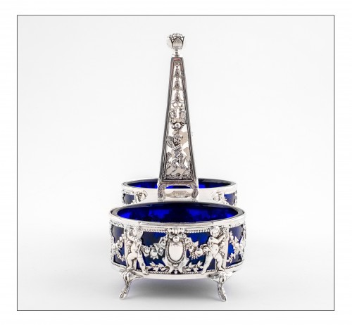 19th century - Set of two double open salt with obelisk by L. LAPAR and V. BOIVIN