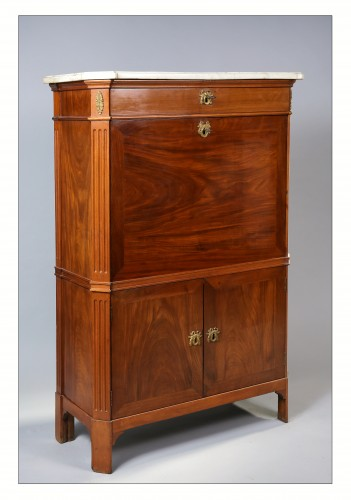 French mahogany secretaire stamped F. SCHEY, Louis XVI period, 18th century -