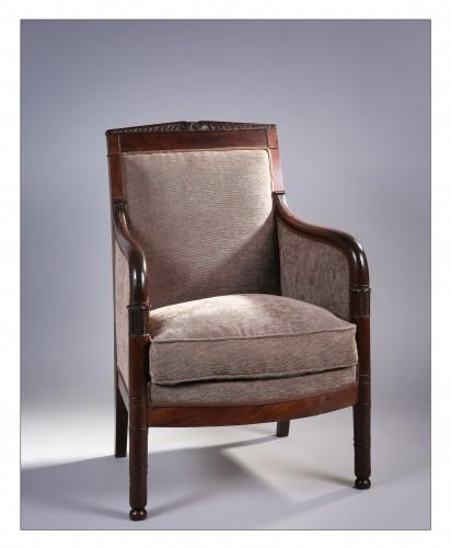 French mahogany bergere, Retour d'Égypte style, Consulat/Empire period - Empire