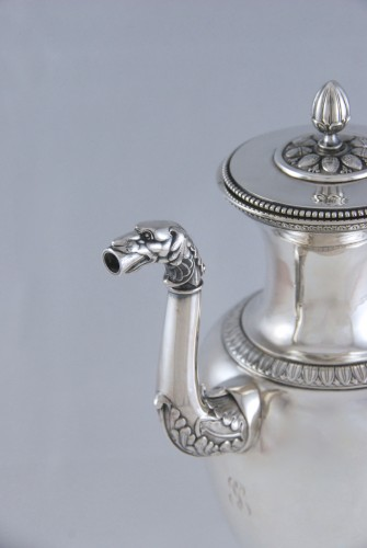 Coffee or tea pot and its milk pot in solid silver, Paris 1819-1838 - Antique Silver Style Restauration - Charles X