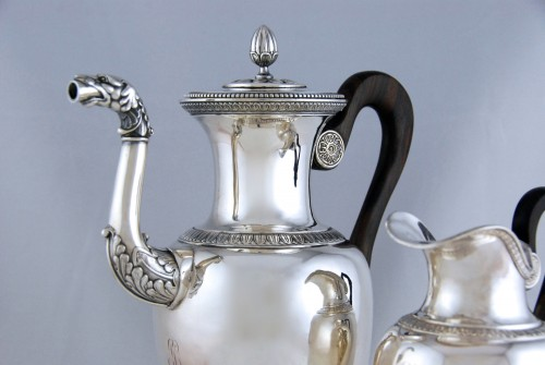 Antiquités - Coffee or tea pot and its milk pot in solid silver, Paris 1819-1838