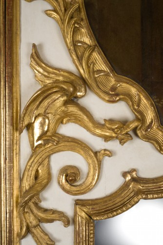 Exceptional Régence period (1715-1723) trumeau mirror, 18th century - Mirrors, Trumeau Style French Regence