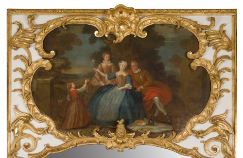 Mirrors, Trumeau  - Exceptional Régence period (1715-1723) trumeau mirror, 18th century