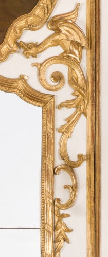 French Regence - Exceptional Régence period (1715-1723) trumeau mirror, 18th century