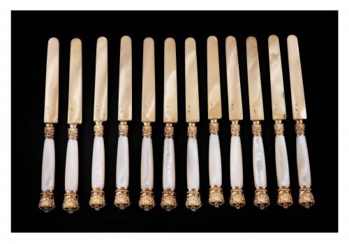 Twelve Knives In Vermeil, By QUEILLÉ, Paris 1834-1846 -