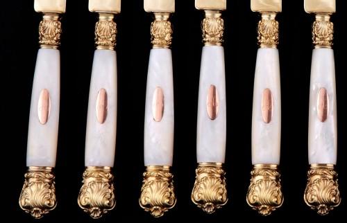 19th century - Twelve Knives In Vermeil, By QUEILLÉ, Paris 1834-1846