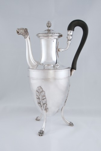 Silver tea pot with panther head, Paris 1798, goldsmith Antoine GUILLEMIN - Antique Silver Style Directoire
