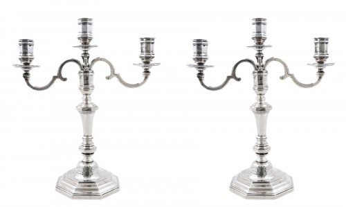 Pair of candelabras convertible into candlesticks by E. ROGER, VISCHER arms