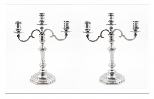 Pair of candelabras convertible into candlesticks by E. ROGER, VISCHER arms - Antique Silver Style