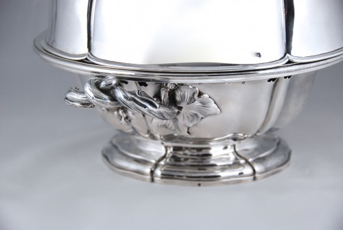 AUCOC AÎNÉ - Chafing dish and its cover in solid silver, Paris 1839-1856 - Antique Silver Style