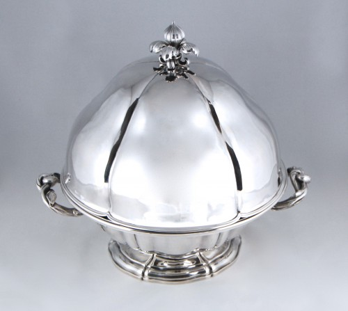 19th century - AUCOC AÎNÉ - Chafing dish and its cover in solid silver, Paris 1839-1856