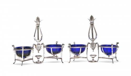 Marc JACQUART goldsmith - Pair of Empire salt cellars, Paris 1798-1809