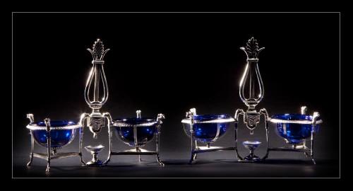 Marc JACQUART goldsmith - Pair of Empire salt cellars, Paris 1798-1809 -