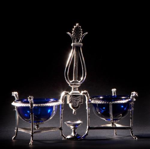 19th century - Marc JACQUART goldsmith - Pair of Empire salt cellars, Paris 1798-1809