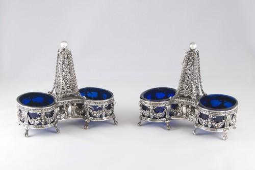 CHARPENAT J.-P., Supplier of the Crown - Pair of salt cellars, Paris 1783 - Antique Silver Style Louis XVI
