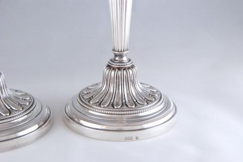 Lighting  - ODIOT Paris, large pair of Louis XVI candelsticks