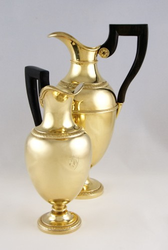 BASCHELET Q.  GRANGER C.-M. goldsmiths, Paris 1809-1819, two vermeil ewers - Antique Silver Style