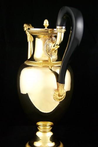 ODIOT goldsmith - Vermeil tea or coffee pot, Paris 1826-1838 - Antique Silver Style Restauration - Charles X