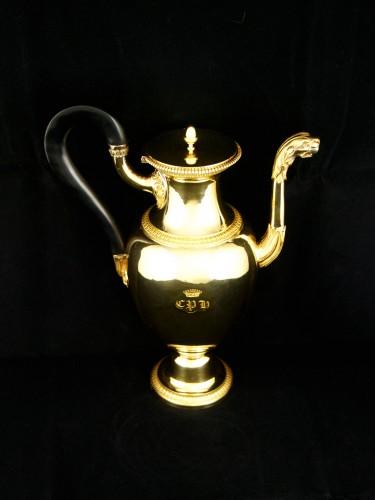 ODIOT goldsmith - Vermeil tea or coffee pot, Paris 1826-1838 - Restauration - Charles X