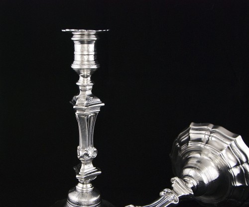 Pair of French Regence period candlesticks (1715-1723), early 18th century -