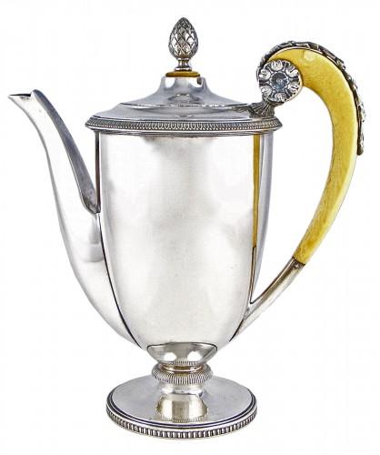 Carl HIESS Goldsmith,sterling silver tea pot, Vienna, Austria, 19th century