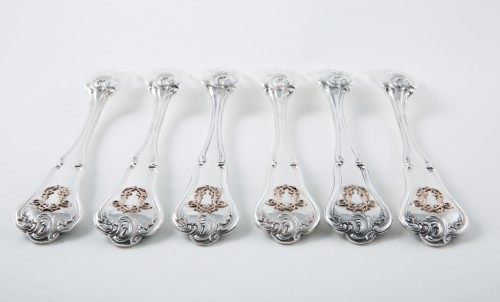 CARDEILHAC goldsmith - Six melon forks in sterling silver and pink gold - Antique Silver Style