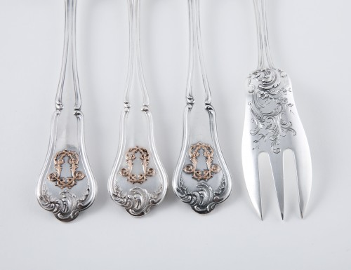 Antique Silver  - CARDEILHAC goldsmith - Six melon forks in sterling silver and pink gold