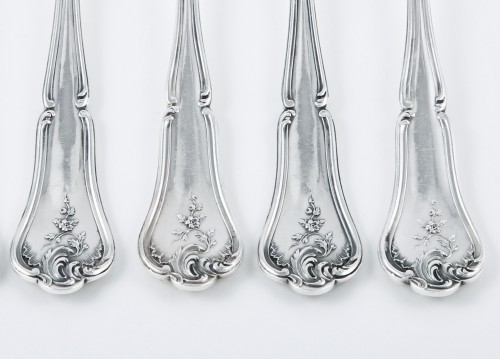 CARDEILHAC goldsmith - Six melon forks in sterling silver and pink gold -