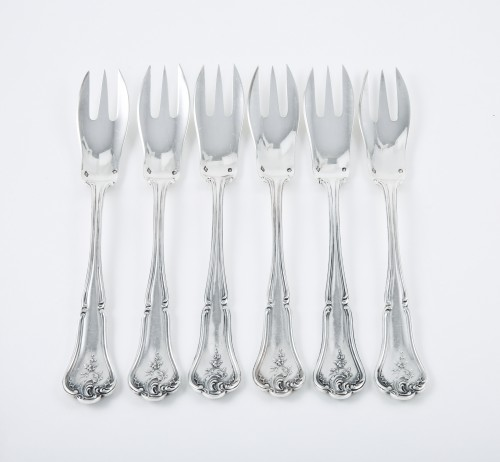 19th century - CARDEILHAC goldsmith - Six melon forks in sterling silver and pink gold