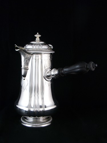 CARDEILHAC, chocolate pot in solid silver and vermeil - Antique Silver Style