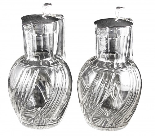 BACCARAT - LAGRIFFOUL & LAVAL, two crystal and sterling silver decanters